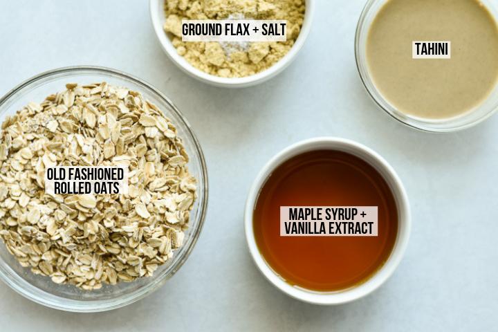 ingredients for maple tahini oatmeal balls
