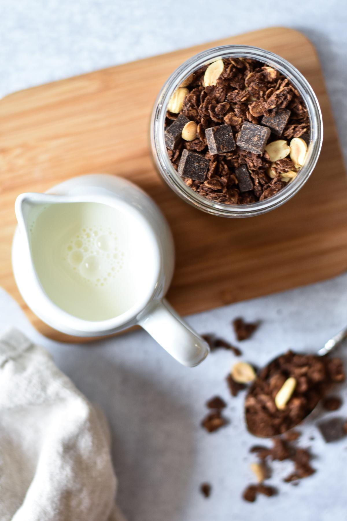 jar of granola with milk