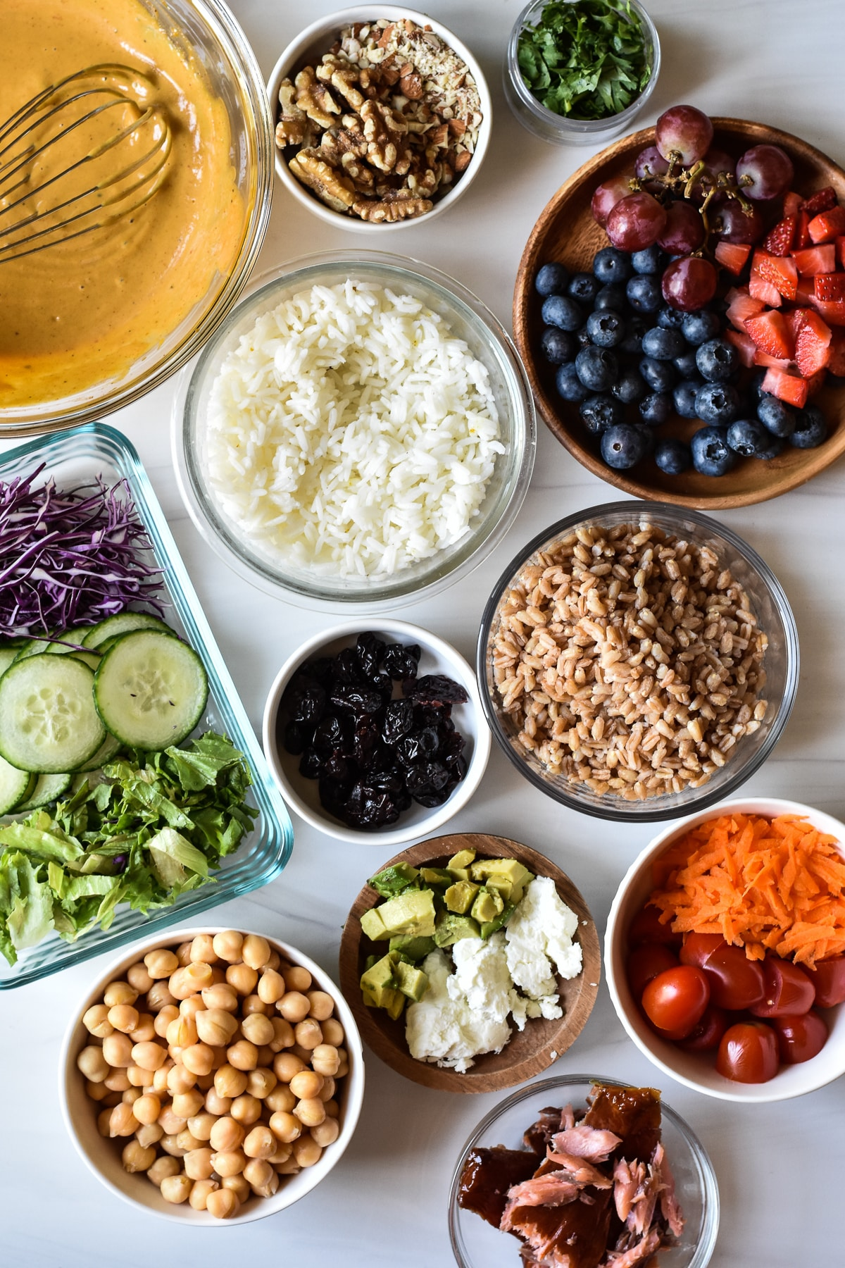 ingredients for nourish bowls in separate bowls