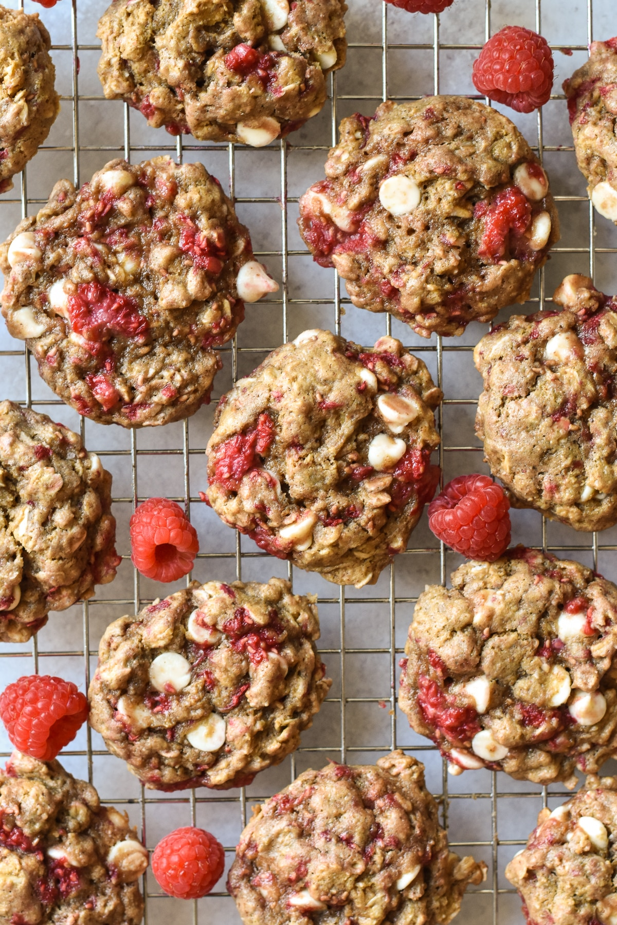white chocolate raspberry cookies on a cooling rack
