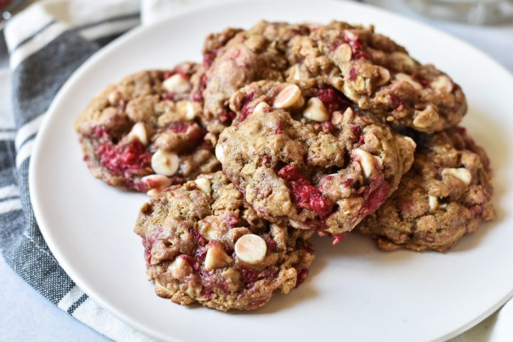 plate of white chocolate raspberry cookies
