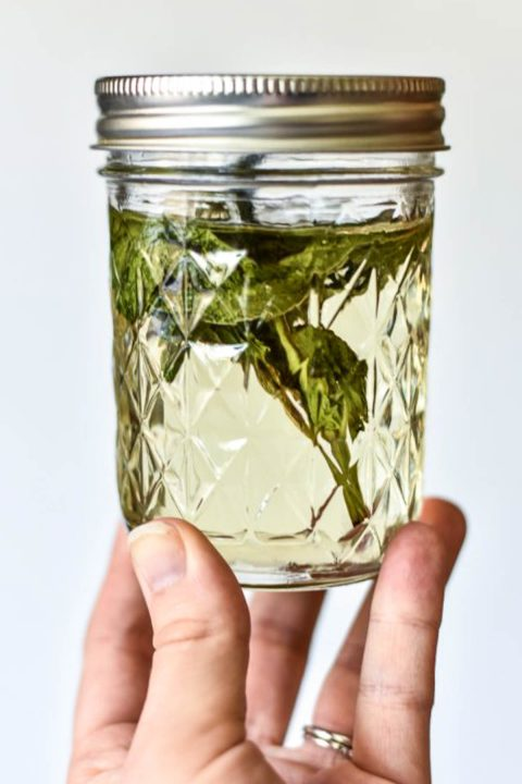 jar of mint simple syrup