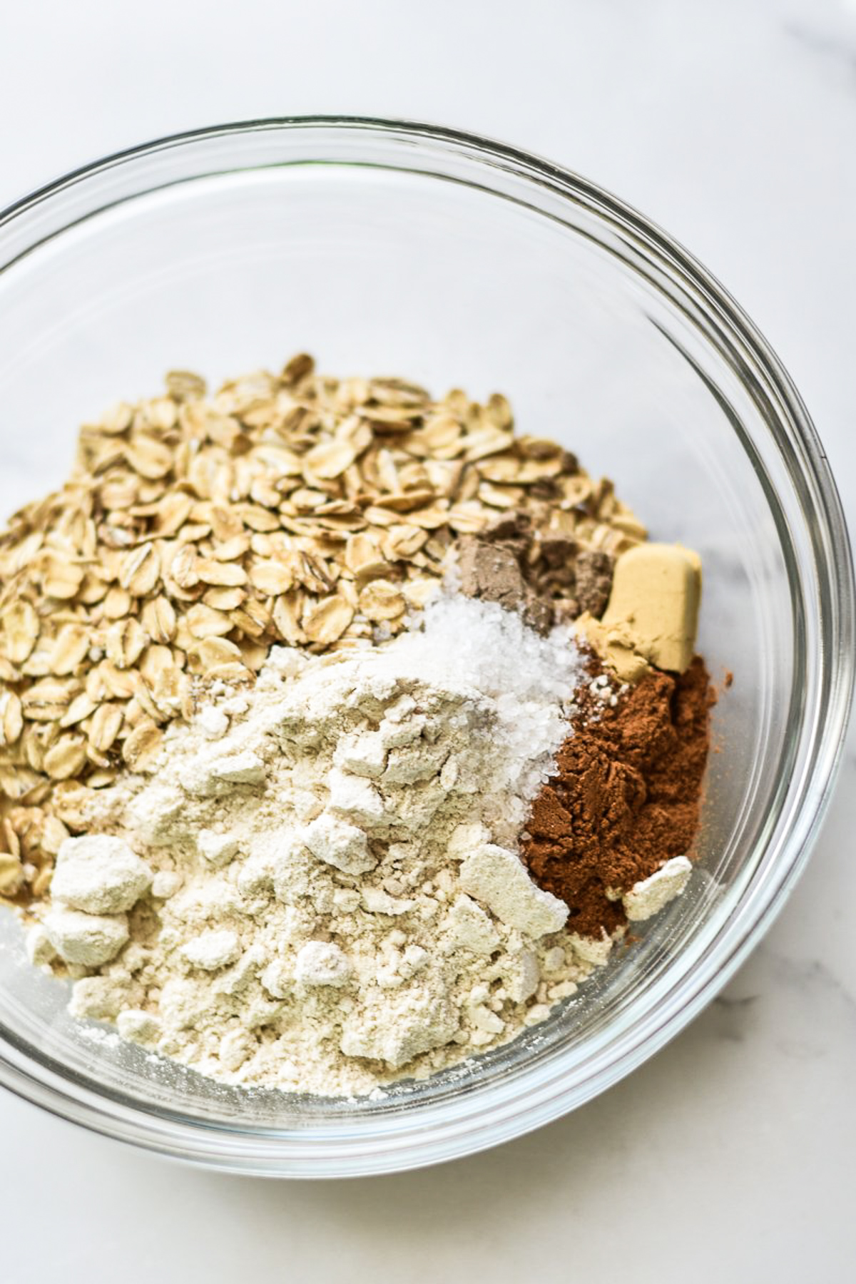 dry ingredients for a gluten-free peach crisp in a bowl