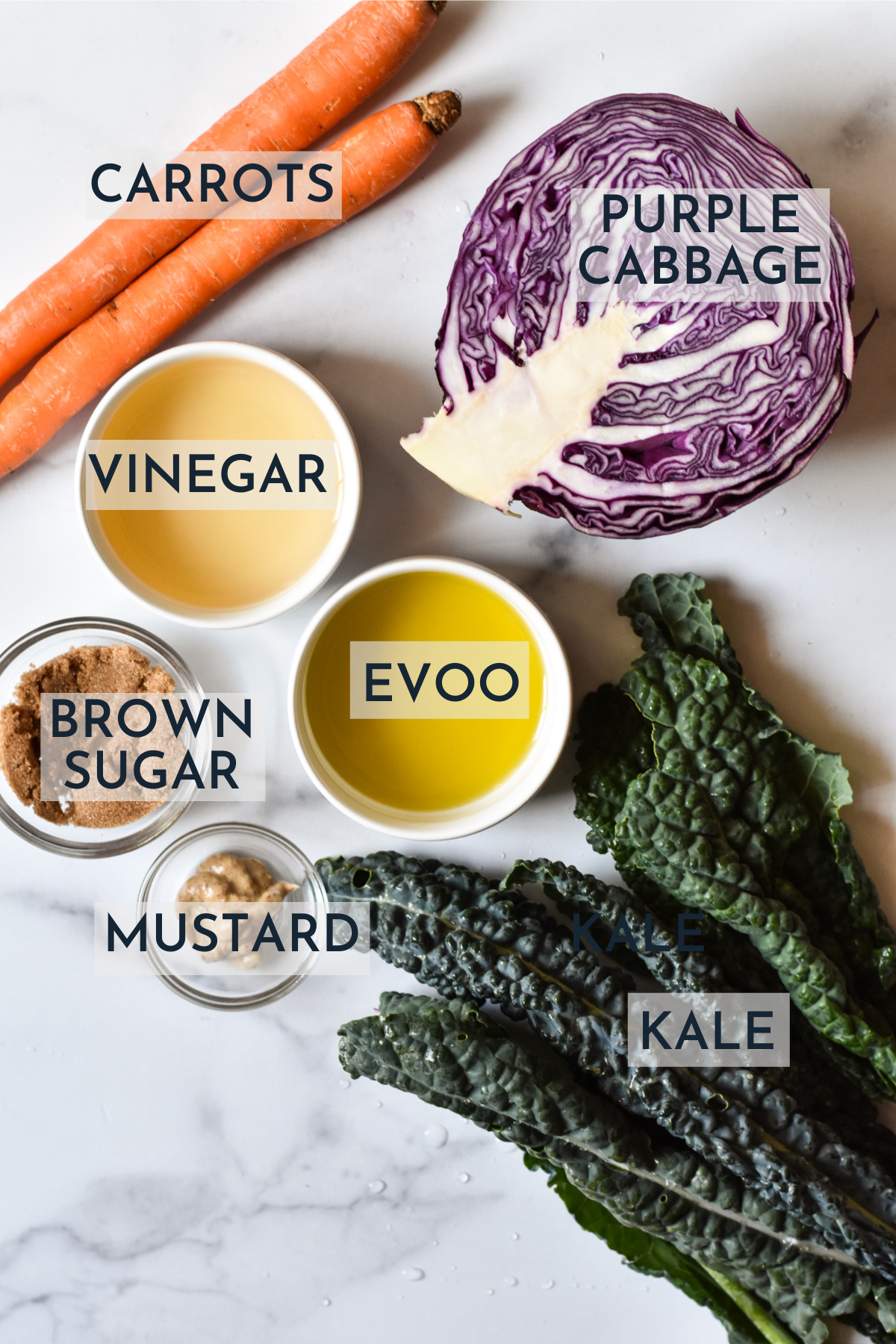 ingredients for purple cabbage slaw